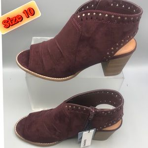 Women's Burgundy Suede Cushioned footbed  Boots 10